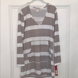 NWT Gray Stripe Coverup